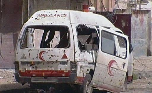 صور مجزرة حي الشجاعية غزة سيارة اصعاف طواقم طبية